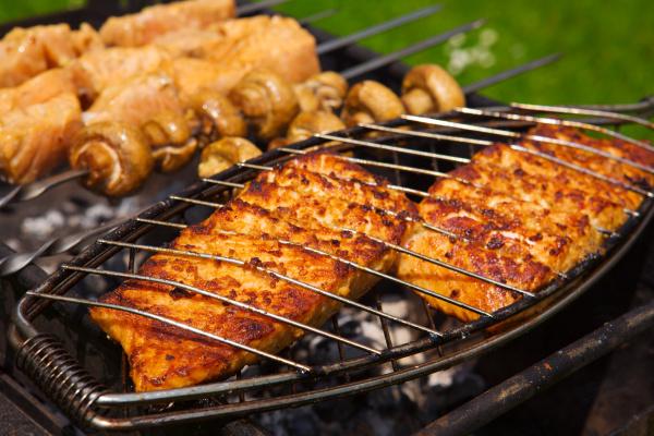 fresh crispy grilled salmon