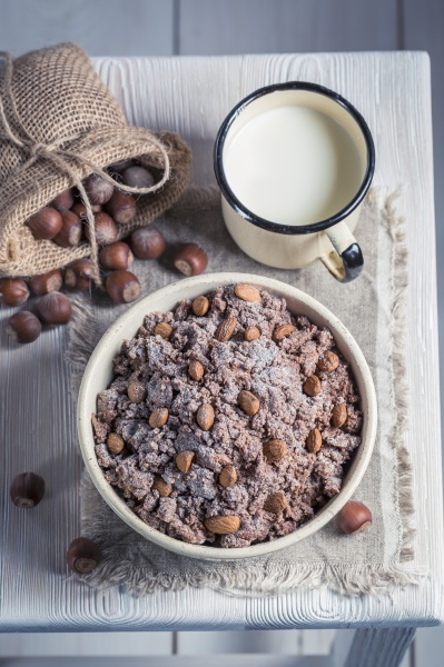 homemade chocolate with nuts