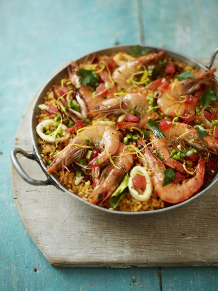 toasted paella with red prawns and