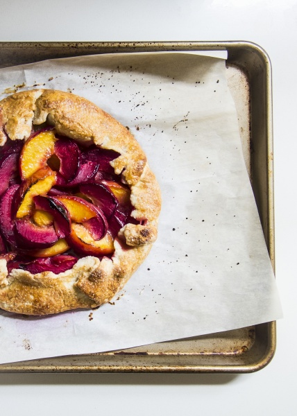 a galette with peaches and plums