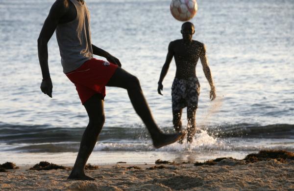 football on saly beach saly
