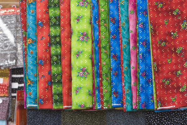 dubai uae bright colored fabrics are