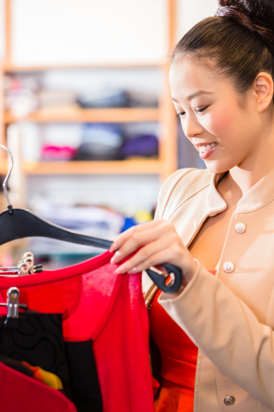 asian woman shopping fashion in store