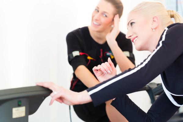 woman having ems training