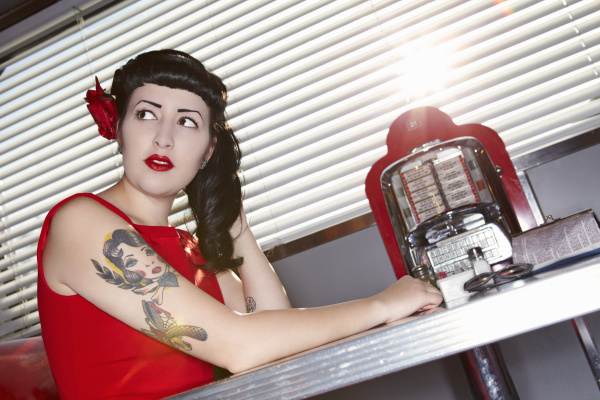 retro woman in american diner