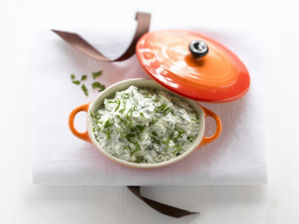 fresh cheese with parsley