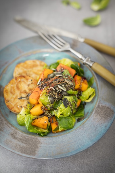 napkin dumpling with brussels sprouts and
