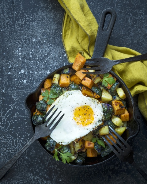 pan fried sweet potatoes with brussels