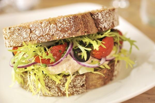 mackerel mayo sandwich with dried tomato