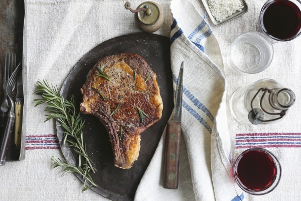 porterhouse steak with rosemary and red