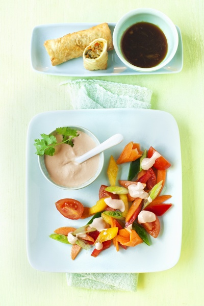 asian salad and spring rolls with