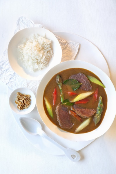 beef with basmati rice in coconut