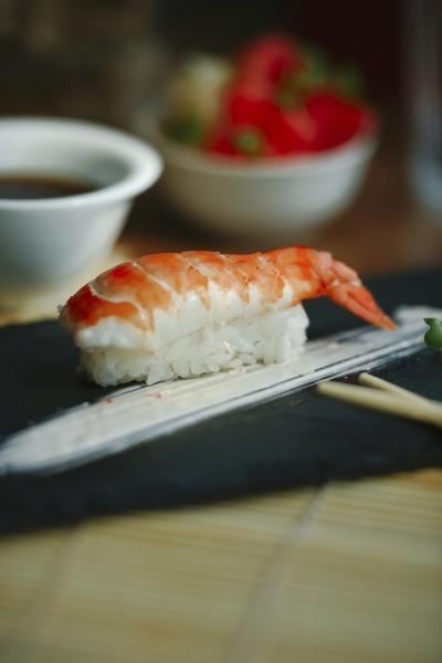 nigiri sushi with shrimp on a