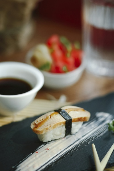 nigiri sushi with omelette on a