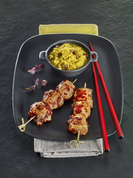spicy chicken breast skewers and rice