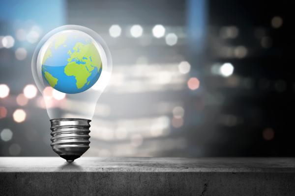 portrait of earth inside light bulb