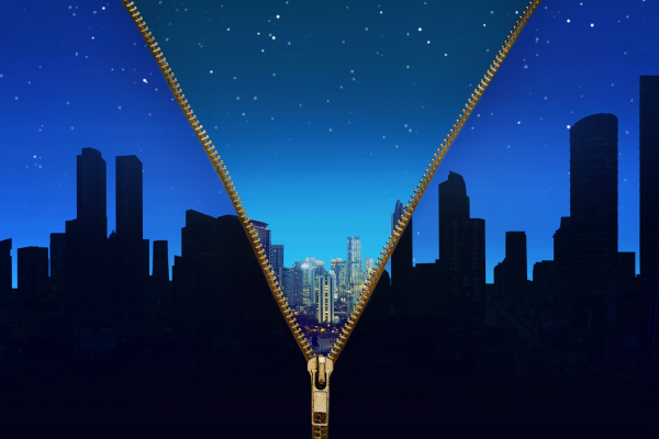 open zipper showing cityscape at night