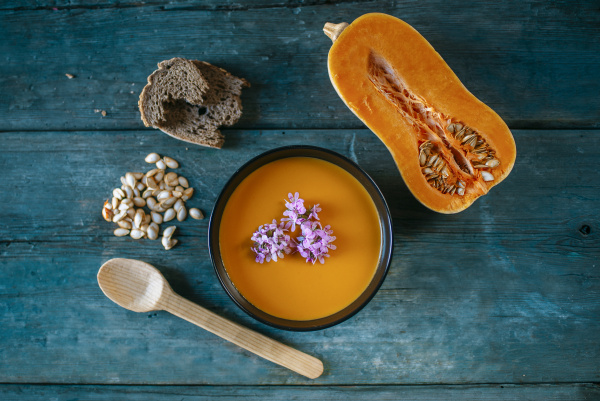 bowl of creamed pumpkin soup with