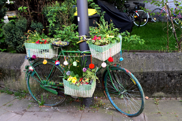 bicycle decorated with flowers on the