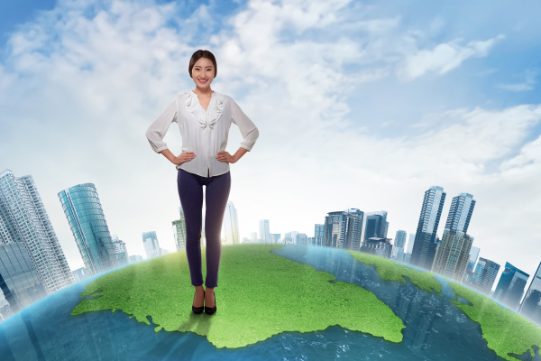 attractive asian business woman standing on