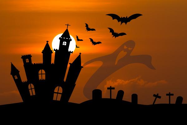 castle in halloween night