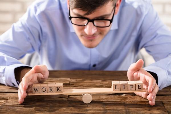 person protecting work life balance