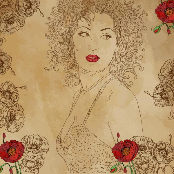 sepia portrait realist comic sensual woman