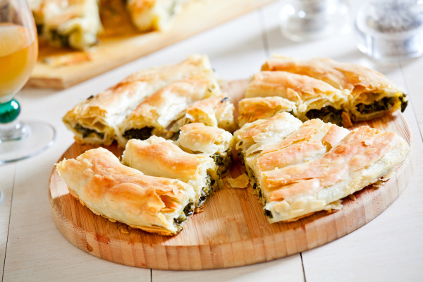 homemade greek spinach pie with feta
