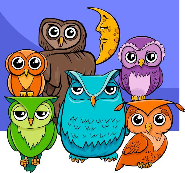 owls group cartoon animal characters