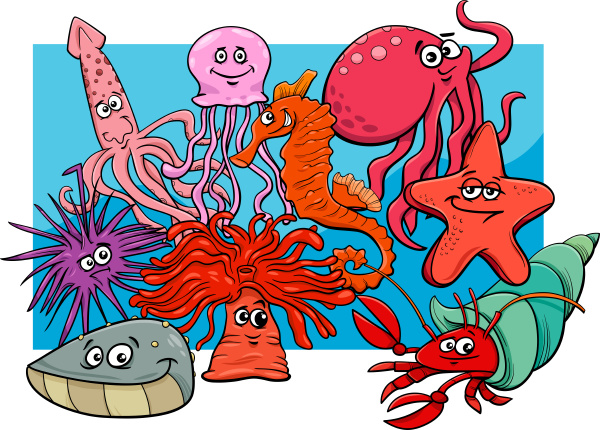 sea life group cartoon animal characters