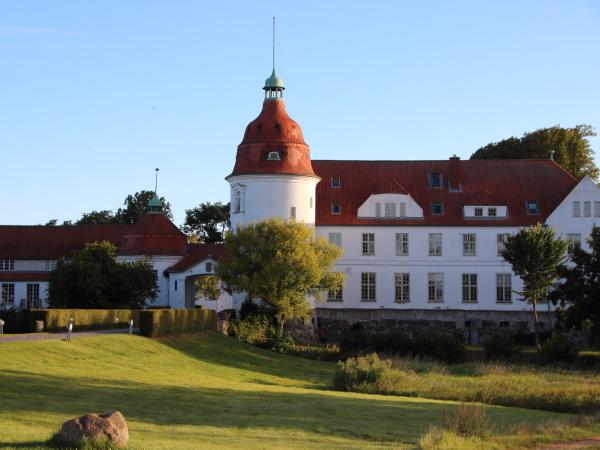 nordborg castle denmark at sunset with