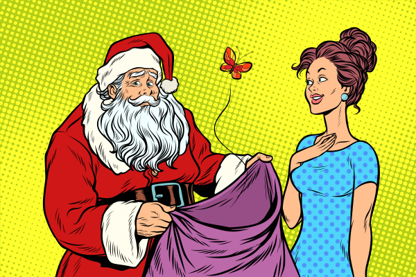 joyful santa claus without gifts and
