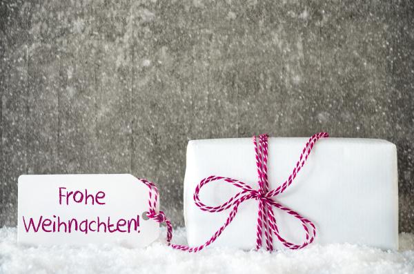 white gift snowflakes label