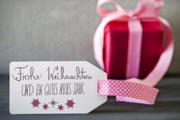 pink gift calligraphy frohe