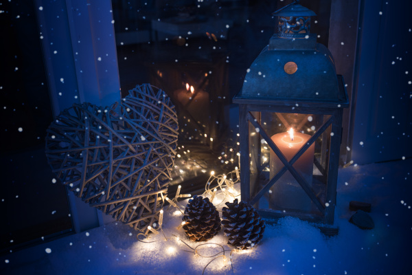 winter decoration in blue light with
