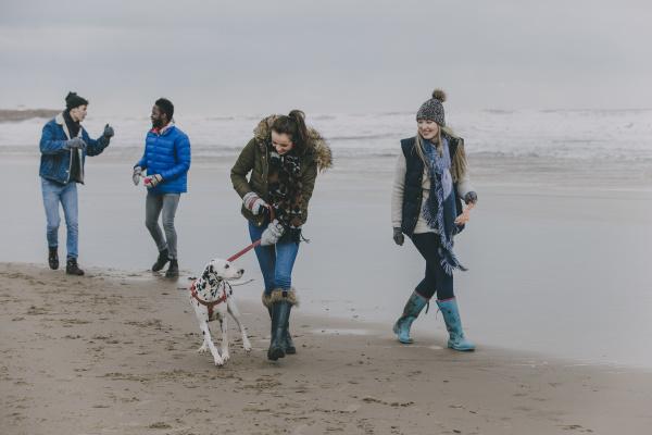 friends walking dog on a winter