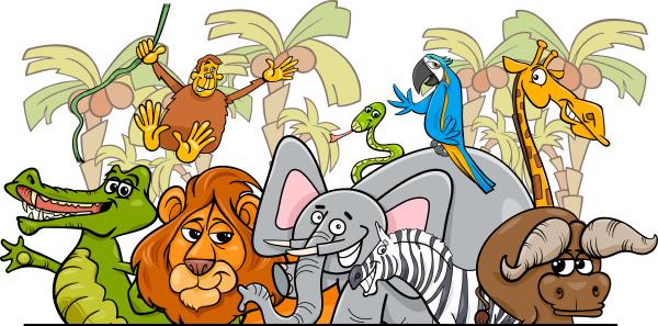 cartoon african safari wild animals group