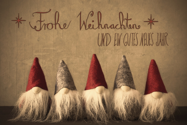 gnomes calligraphy frohe weihnachten means merry