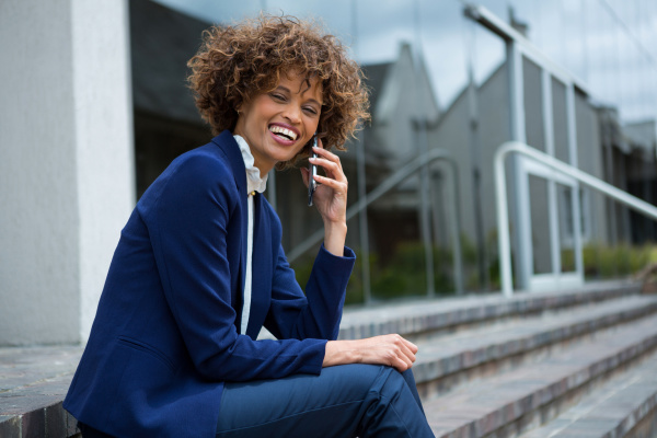 businesswoman talking on mobile phone in