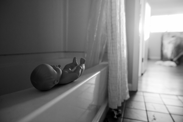 interior view of a bathroom doll