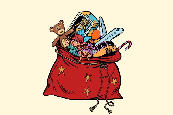 santa sack with christmas gifts and