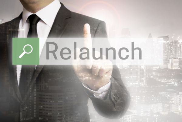 relaunch browser with businessman and city