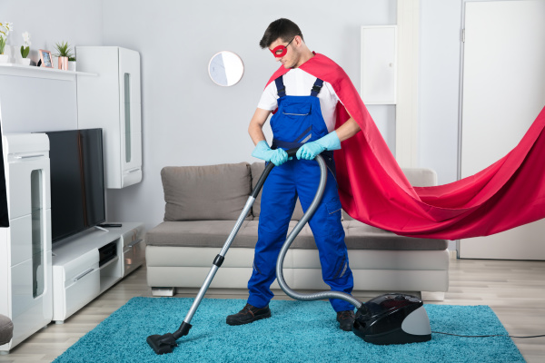 janitor, cleaning, carpet, with, vacuum, cleaner - 23241487