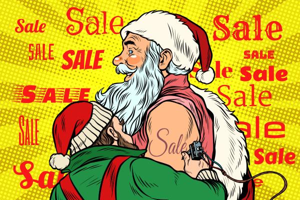 sale elf makes santa claus tattoo