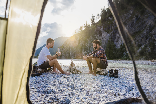 germany bavaria two hikers camping on