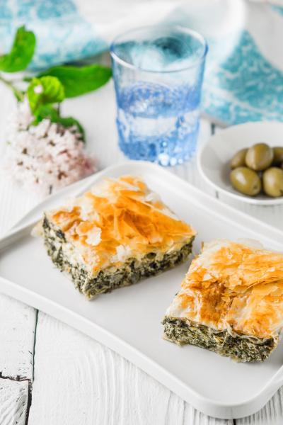 piece of greek pie spanakopita on