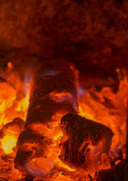 embers in the stove