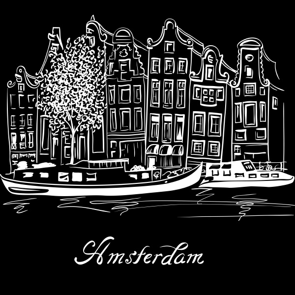 vector amsterdam canal and typical dutch