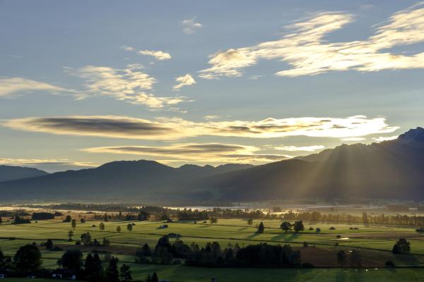 germany bavaria upper bavaria sunrise above