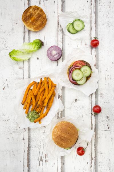 homemade burger with sweet potato fries